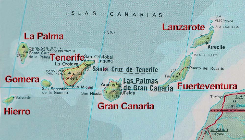 Kanaren Inseln Karte.La Palma Rund Um Die Insel Kanarische Inseln Spanien